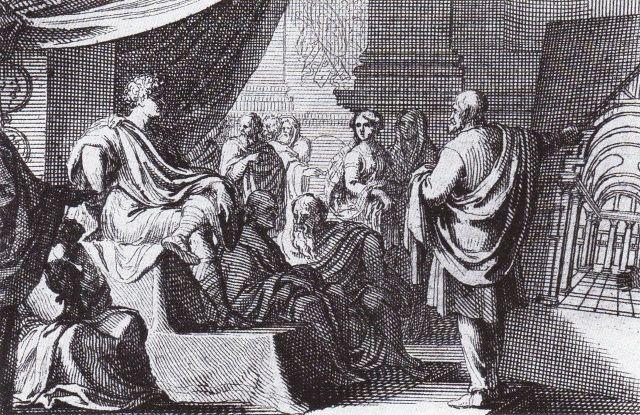Vitruvius Presenting De Architectura to Augustus