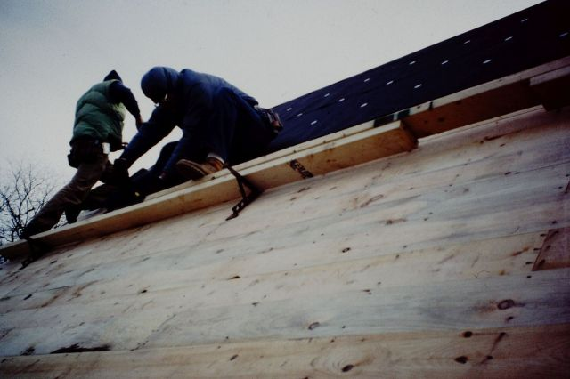 Pine Roof Sheathing & #15 Felt Underlayment - Breatheable Materials