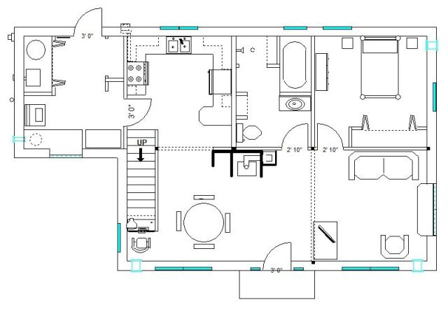 1st Floor Plan - 900 SF Interior Space